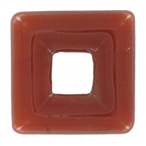 Square perforated, cornelian, 25x25 mm