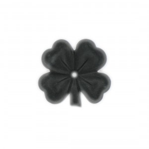 Matt four leaf clover with one hole , black 30 mm