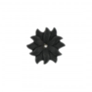 One hole matt edelweis flower, black 24 mm