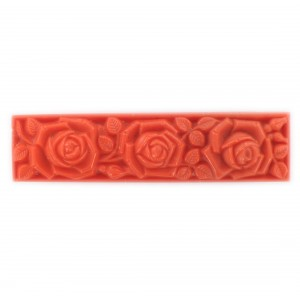 Rectangular pendant with matt embossed floral pattern on 2 sides, coral red 55x14 mm
