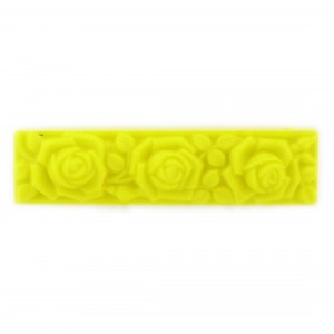 Rectangular pendant with matt embossed floral pattern on 2 sides, yellow 55x14 mm