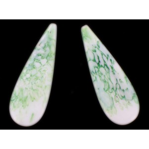 Pendant, blind hole, white and veined green 51x18 mm