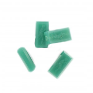 Rectangular bead with matt engraved character on 2 faces, chryso 18x9 mm