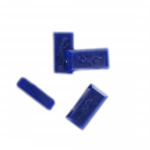 Rectangular bead with matt engraved character on 2 faces, dark sapphire 18x9 mm