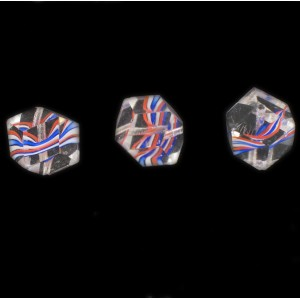 Cut multi facets bead, striations pattern, crystal and blue white orange 14x12 mm