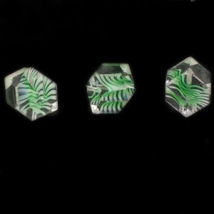 Cut multi facets bead, striations pattern, crystal and green 14x12 mm