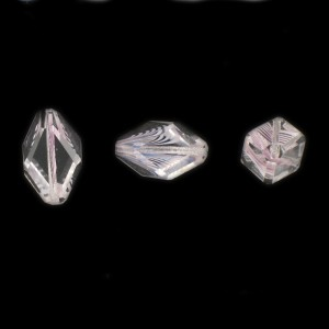 Cut facets olive, striations pattern, crystal and amethyst 18x9 mm