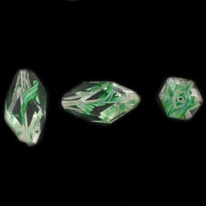 Cut facets olive, striations pattern, crystal and green 24x11 mm