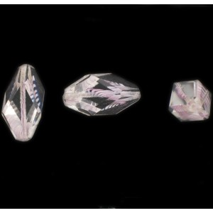 Cut facets olive, striations pattern, crystal and amethyst 24x11 mm