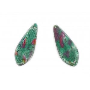 Pendant plat avec décor feuille d'argent, trou au sommet, vert et tacheté rose 37x16 mm
