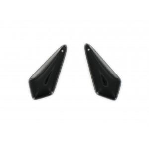 Pendant plat, trou au sommet, noir 31x14 mm