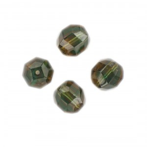 Faceted bead, topaz and emerald 14x12 mm