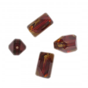 Faceted bead, ruby and topaz 17x10 mm