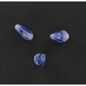 Marbled baroque olive, blue and white 10x8 mm