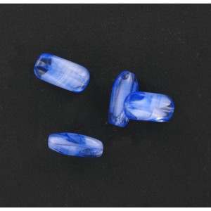 Long baroque bead, blue agate 16x8 mm