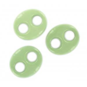 Oval flat trimming 2 holes, light green 29x25 mm