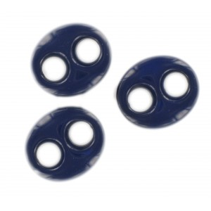 Oval flat trimming 2 holes, lapis 29x25 mm
