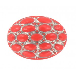 Oval coral red cabochon 25x18 mm