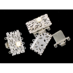 Rhodium plated fastener four raws