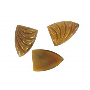Shell shaped cabochon, brown, 26x18 mm
