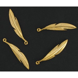 Gilded feather pendant 37 mm
