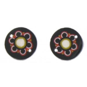 flat disc black 2 holes flower decoration 13 mm
