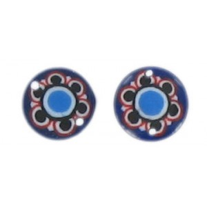 Flat disc blue 2 holes flower decoration 13 mm