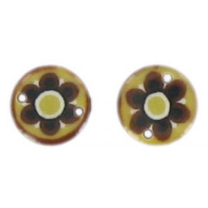 Flat disc brown 2 holes flower decoration 13 mm
