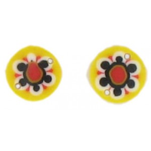 Flat disc yellow 2 holes flower decoration 13 mm