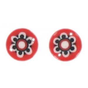 Flat disc red 2 holes flower decoration 13 mm