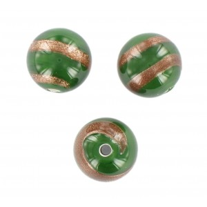 Round bead, green with aventurine 12 mm