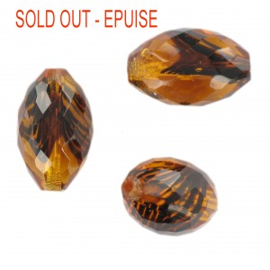 Faceted olive bead, tortoiseshell 22x15 mm