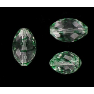 Faceted olive bead, crystal emerald 22x15 mm