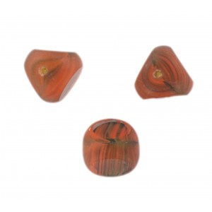 "Marbled bead, 3 cut faces, ""brick"" color 13 mm"