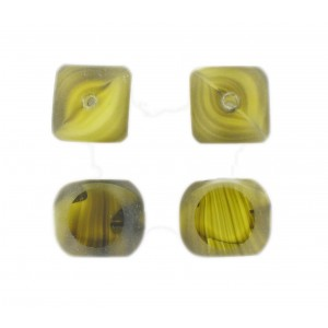 Marbled bead, 4 cut faces, olivine 14 mm
