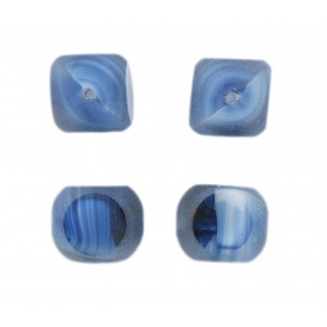 Marbled bead, 4 cut faces, blue 14 mm