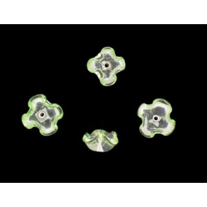 Two tone flower bead, crystal peridot 12 mm