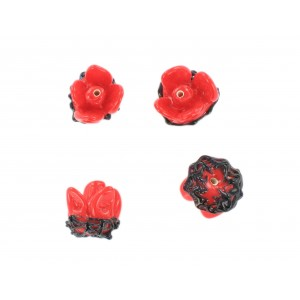 Flower bead, coral red black 12x15 mm