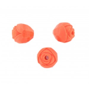 Rosebud cut bead, coral red 10 mm