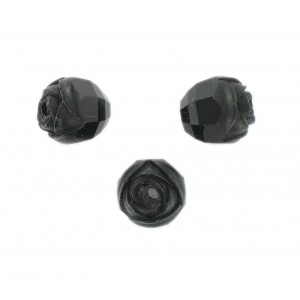 Rosebud cut bead, black 10 mm