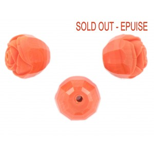 Rosebud cut bead, coral red 16 mm