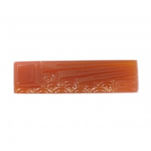 Rectangular cabochon with embossed art deco pattern, cornelian 37x10 mm