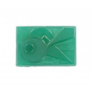 Rectangular cabochon with embossed shiny and matt art deco pattern, chrysolite 30x20 mm