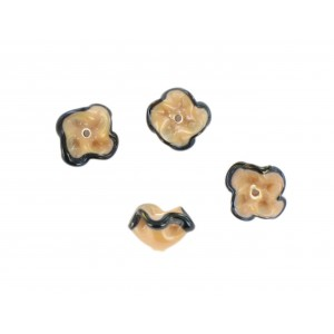 Two tone flower bead, beige black 12 mm