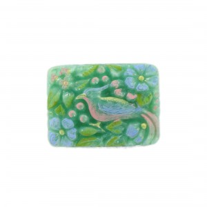 Rectangular painted cabochon with embossed bird, green 33x24 mm