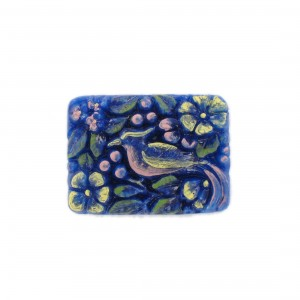 Rectangular painted cabochon with embossed bird, lapis 33x24 mm