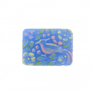 Rectangular painted cabochon with embossed bird, light blue 33x24 mm