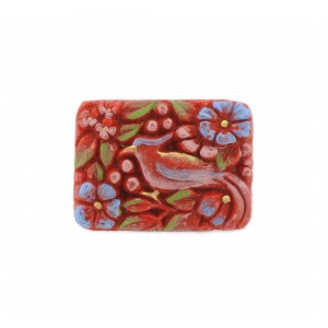 Rectangular painted cabochon with embossed bird, rust-colored 33x24 mm