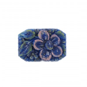 Rectangular painted cabochon with embossed flower, lapis 34x23 mm