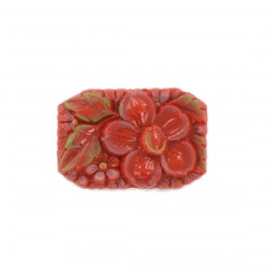 Rectangular painted cabochon with embossed flower, rust-colored 34x23 mm